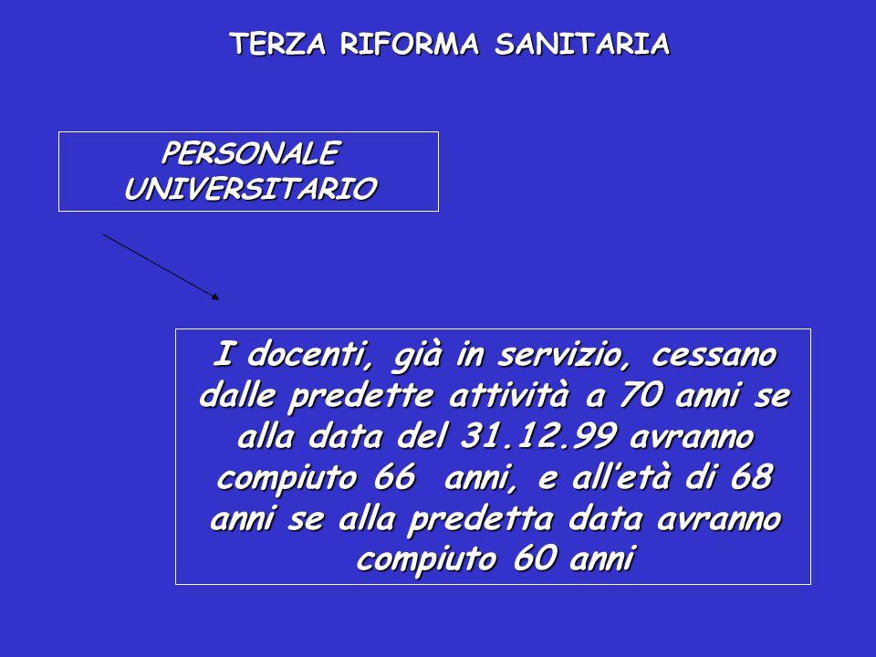 TERZA RIFORMA SANITARIA PERSONALE UNIVERSITARIO