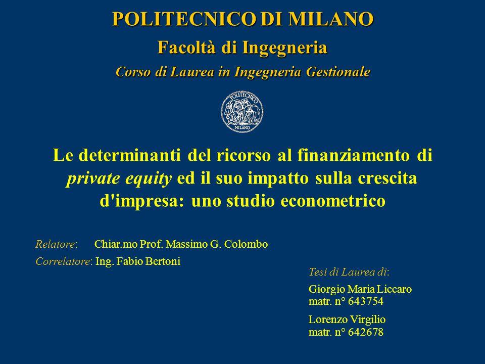 POLITECNICO DI MILANO Facoltà di Ingegneria Corso di Laurea in Ingegneria Gestionale