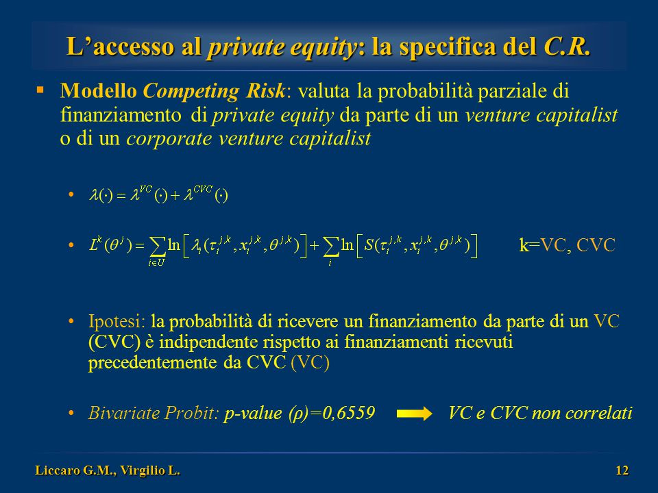 L'accesso al private equity: la specifica del C.R.