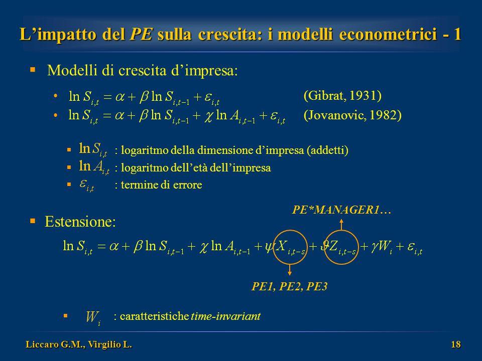 L'impatto del PE sulla crescita: i modelli econometrici - 1