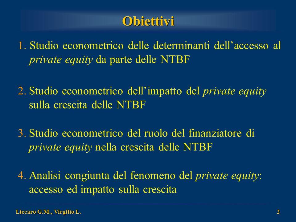 Obiettivi Studio econometrico delle determinanti dell'accesso al private equity da parte delle NTBF.