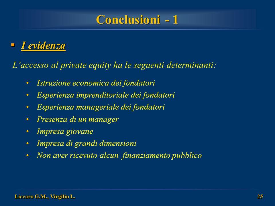 Conclusioni - 1 I evidenza