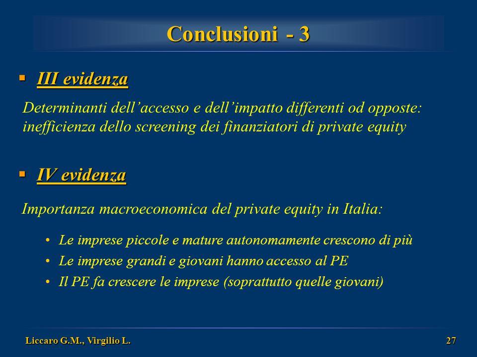 Conclusioni - 3 III evidenza IV evidenza
