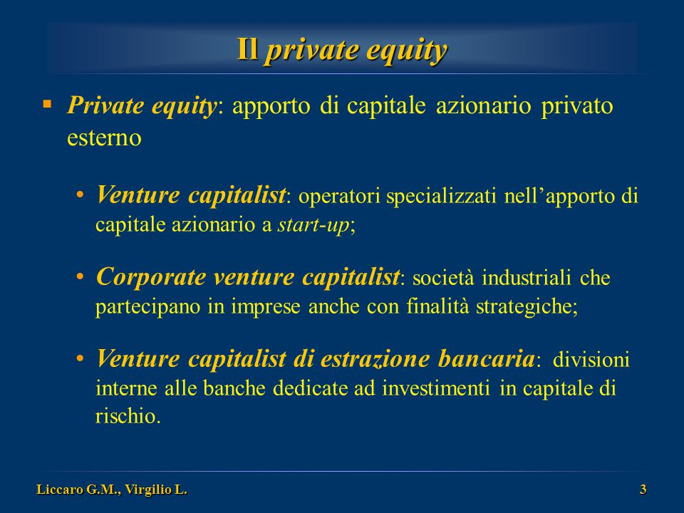Il private equity Private equity: apporto di capitale azionario privato esterno.