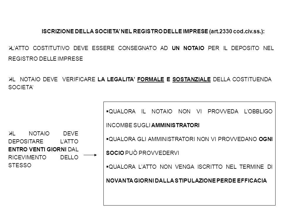 ISCRIZIONE DELLA SOCIETA' NEL REGISTRO DELLE IMPRESE (art. 2330 cod
