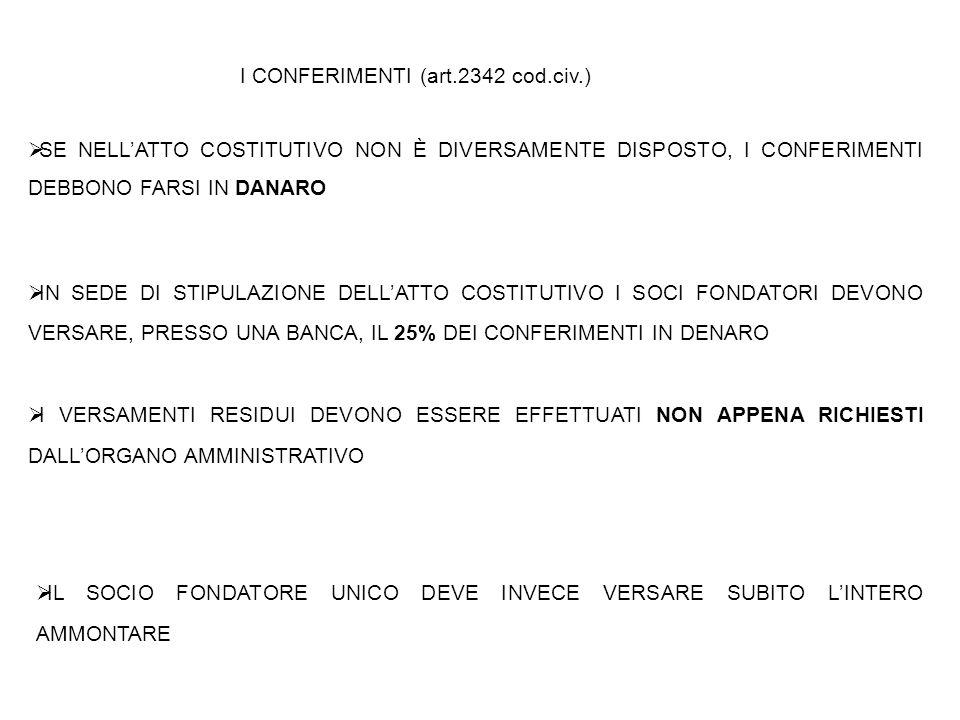 I CONFERIMENTI (art.2342 cod.civ.)
