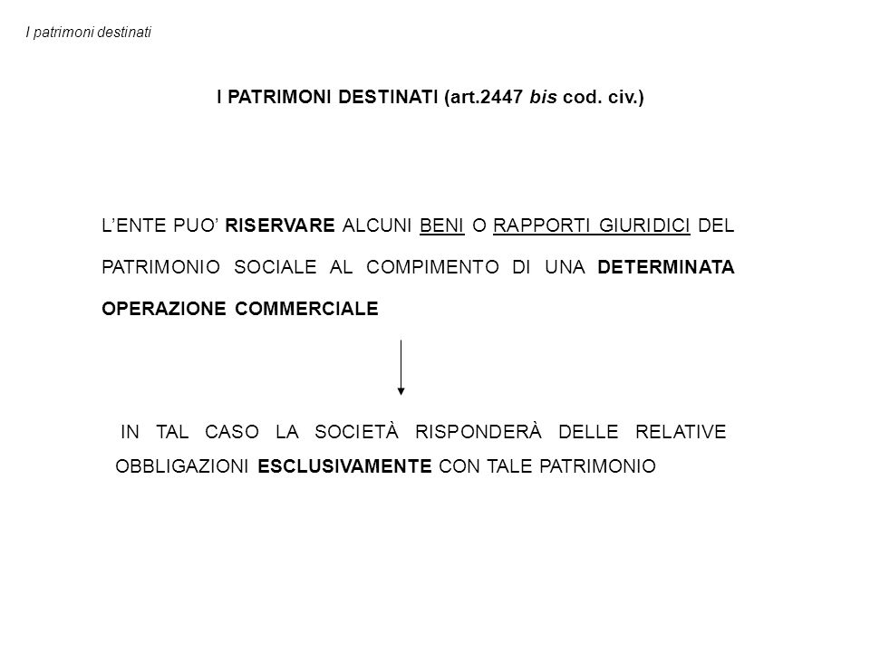 I PATRIMONI DESTINATI (art.2447 bis cod. civ.)