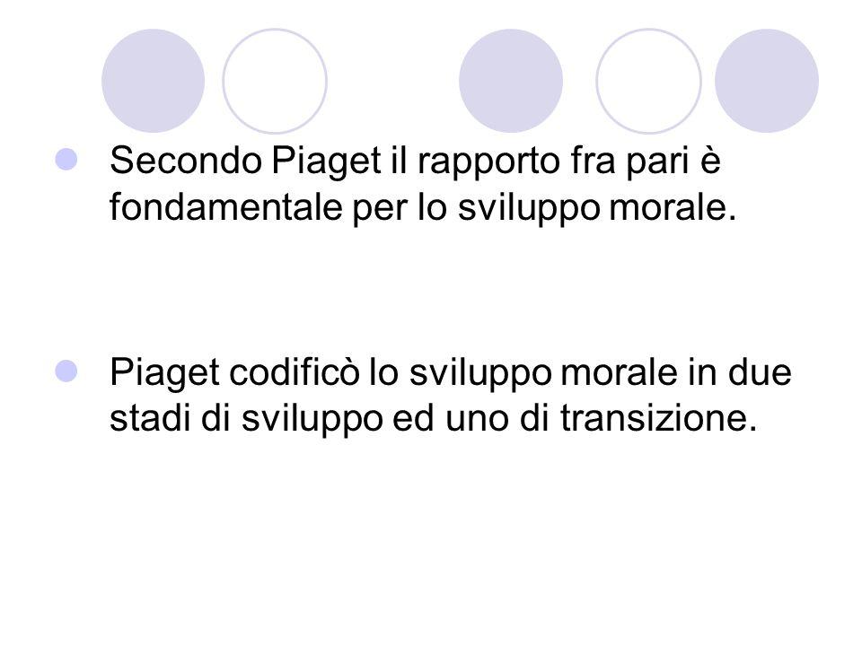 Secondo Piaget il rapporto fra pari è fondamentale per lo sviluppo morale.