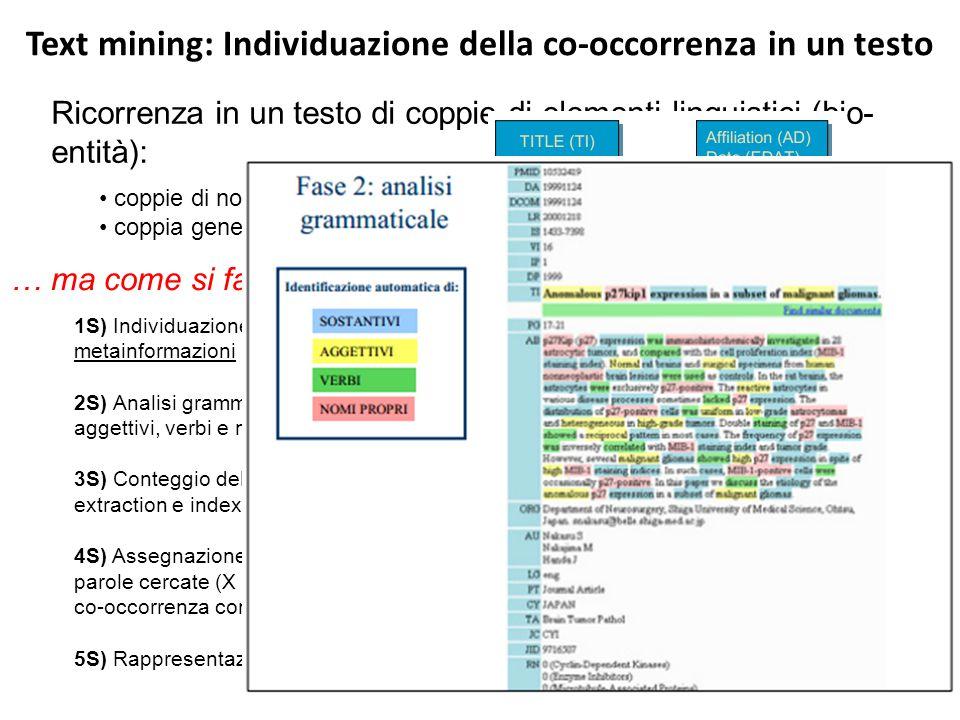 Text mining: Individuazione della co-occorrenza in un testo
