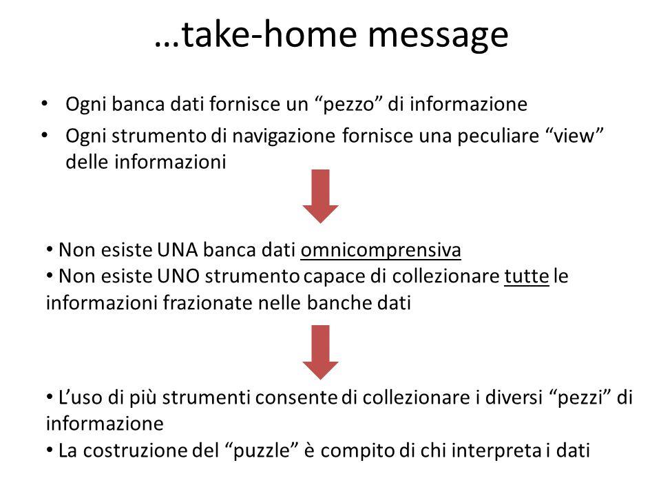 …take-home message Ogni banca dati fornisce un pezzo di informazione