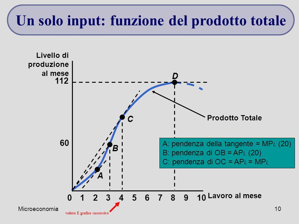 Un solo input: funzione del prodotto totale