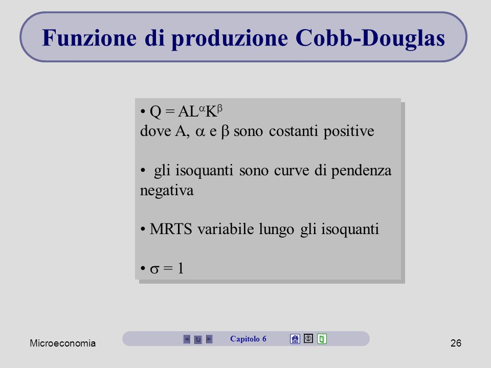 Funzione di produzione Cobb-Douglas