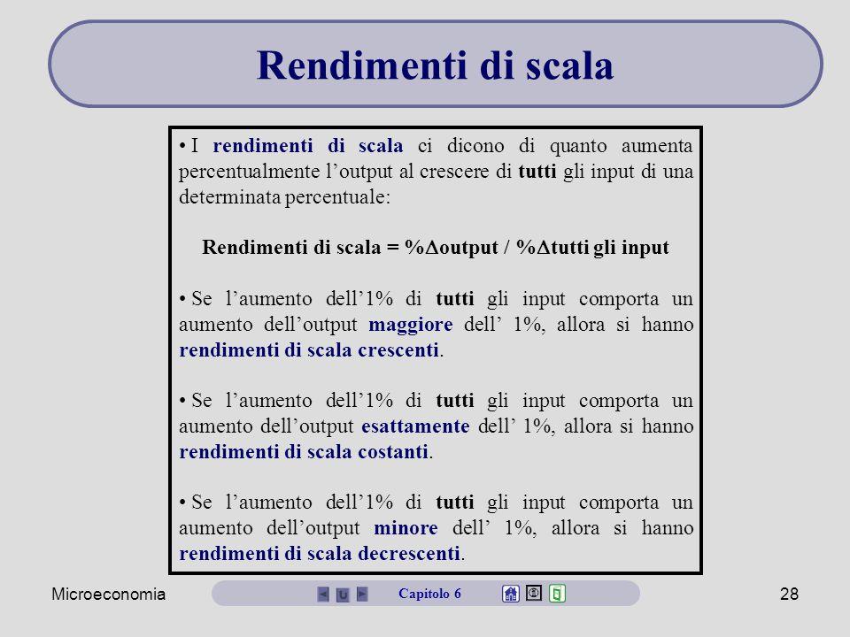 Rendimenti di scala = %output / %tutti gli input