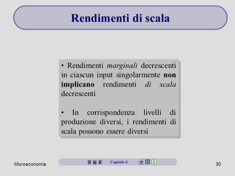 Rendimenti di scala • Rendimenti marginali decrescenti in ciascun input singolarmente non implicano rendimenti di scala decrescenti.