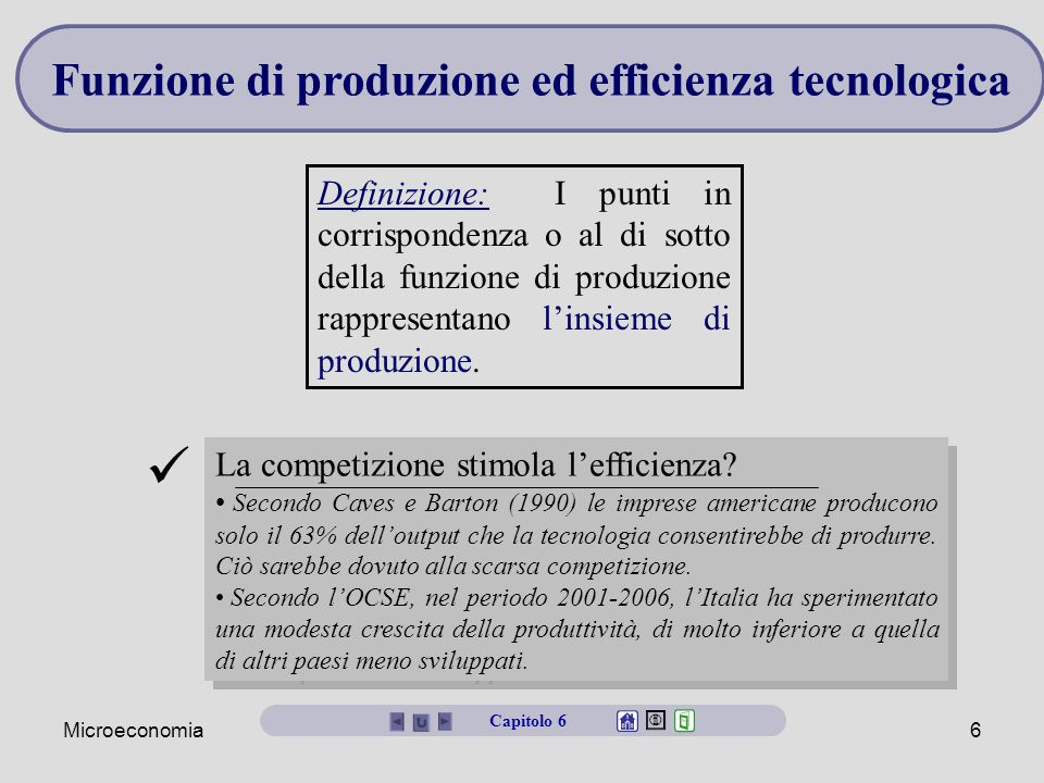 Funzione di produzione ed efficienza tecnologica