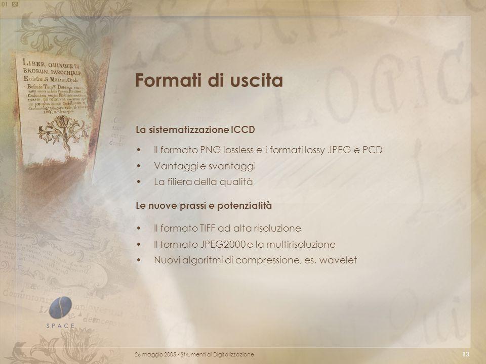 Formati di uscita La sistematizzazione ICCD