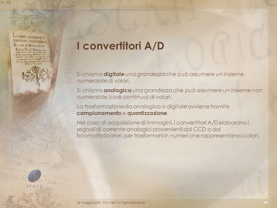 I convertitori A/D Si chiama digitale una grandezza che può assumere un insieme numerabile di valori.