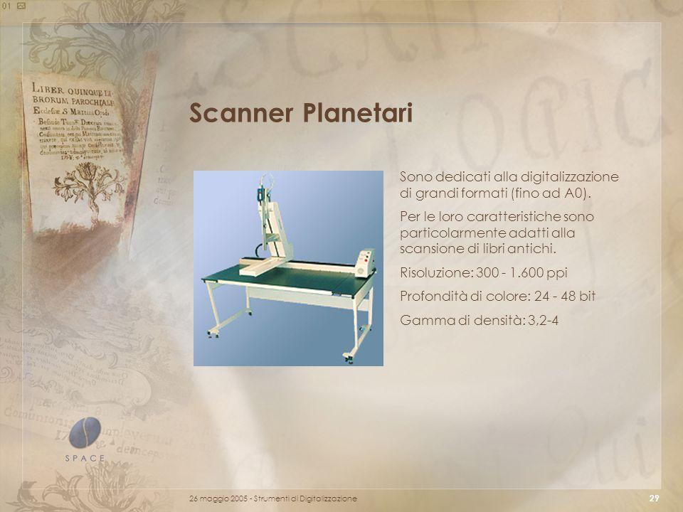 Scanner Planetari Sono dedicati alla digitalizzazione di grandi formati (fino ad A0).