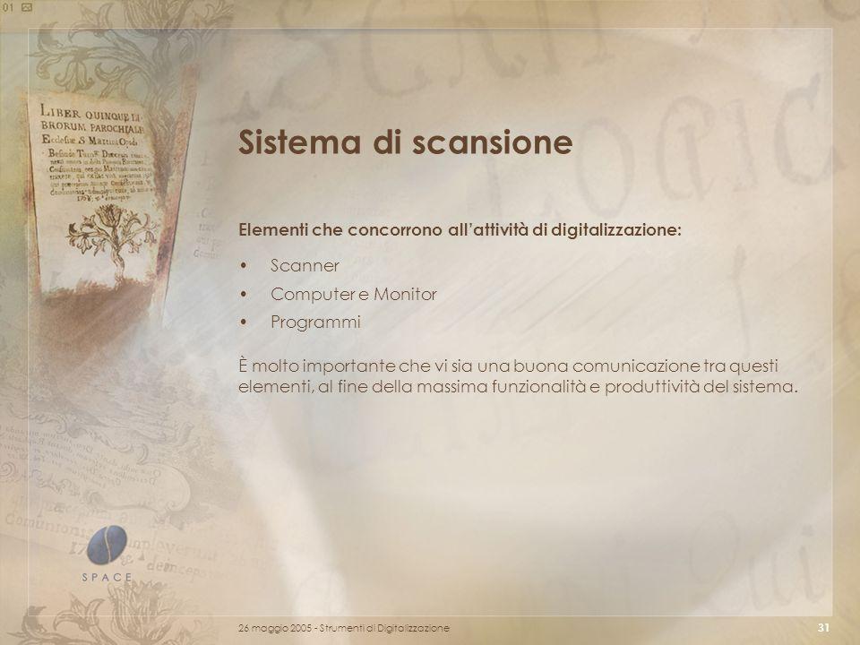 Sistema di scansione Elementi che concorrono all'attività di digitalizzazione: Scanner. Computer e Monitor.