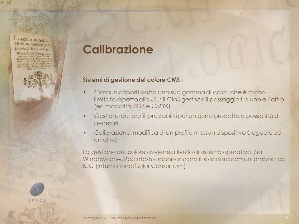 Calibrazione Sistemi di gestione del colore CMS :