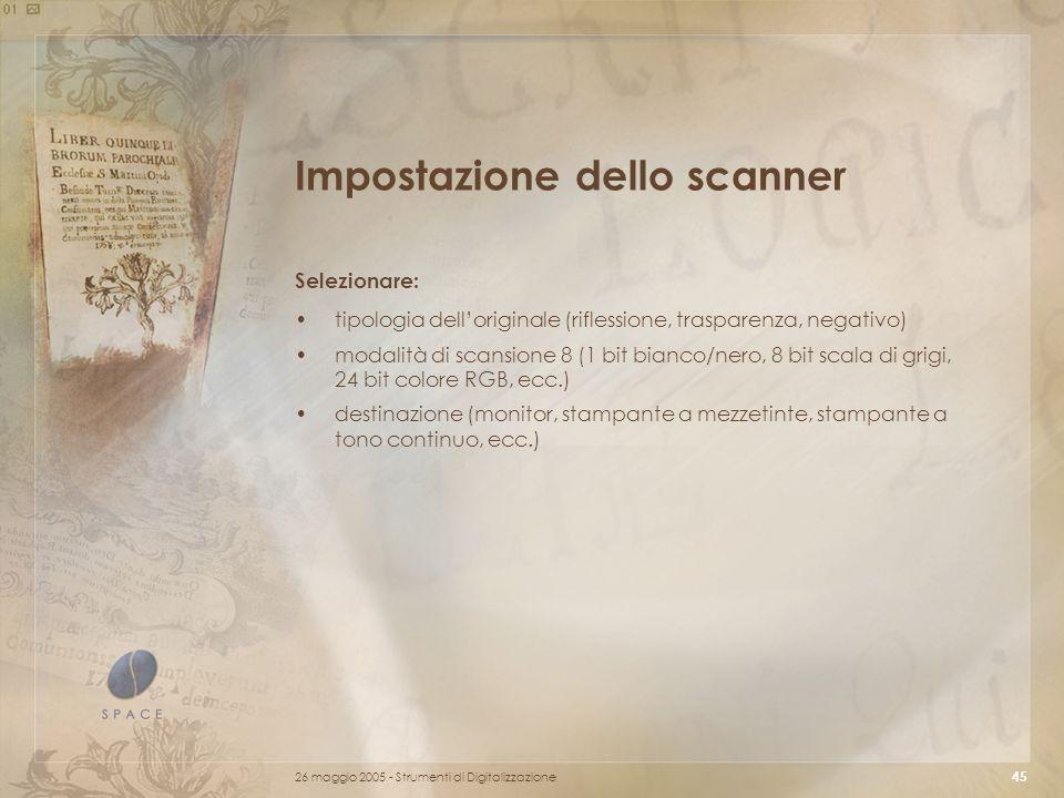 Impostazione dello scanner