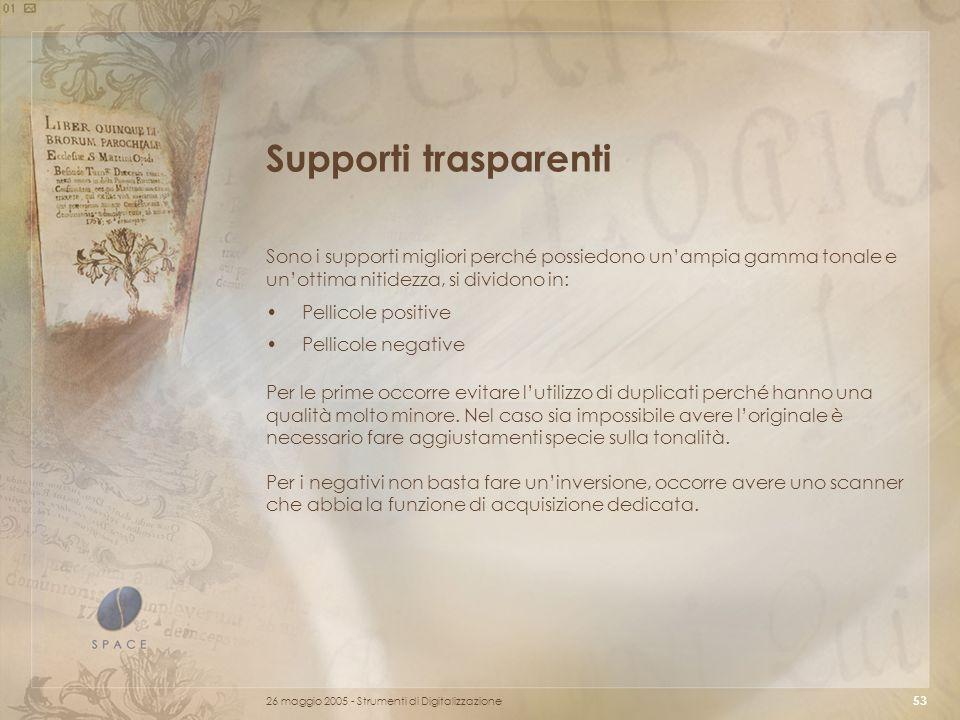 Supporti trasparenti Sono i supporti migliori perché possiedono un'ampia gamma tonale e un'ottima nitidezza, si dividono in:
