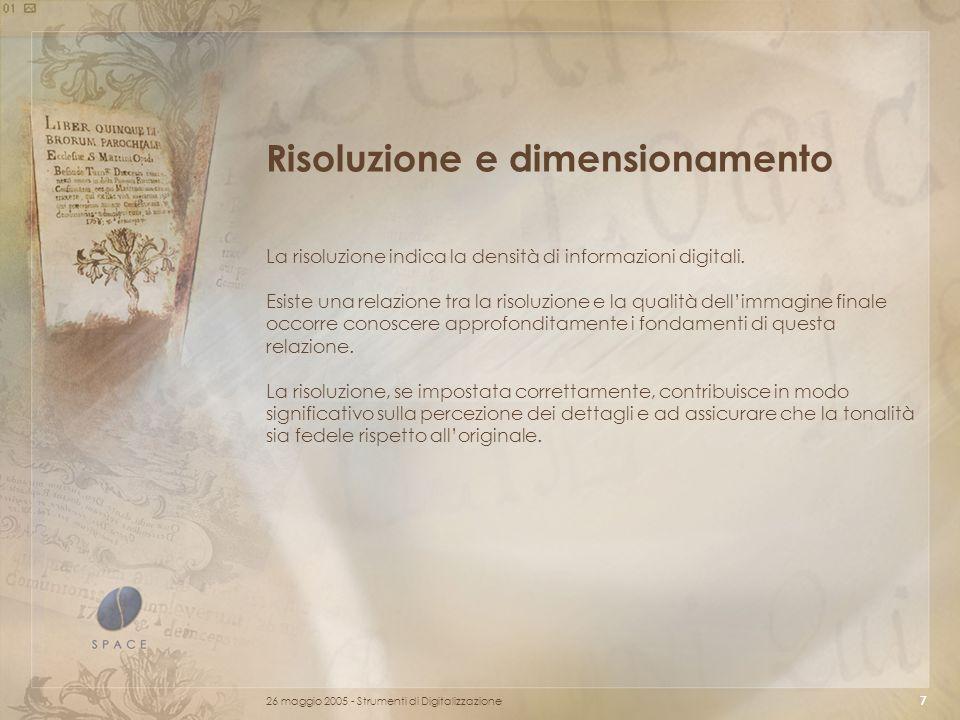 Risoluzione e dimensionamento