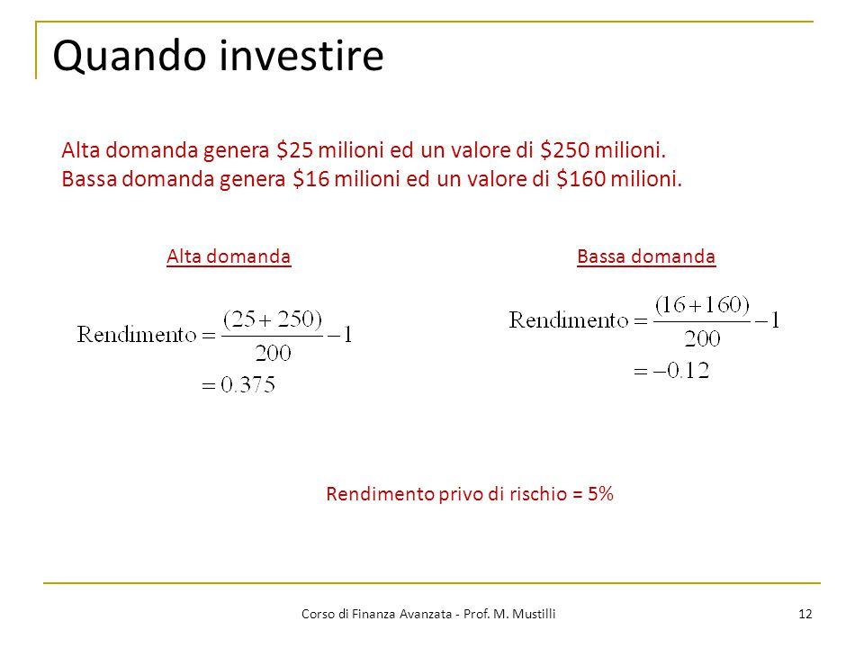 Quando investire Alta domanda genera $25 milioni ed un valore di $250 milioni. Bassa domanda genera $16 milioni ed un valore di $160 milioni.