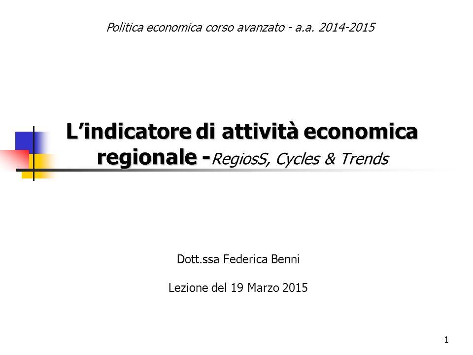 L'indicatore di attività economica regionale -RegiosS, Cycles & Trends