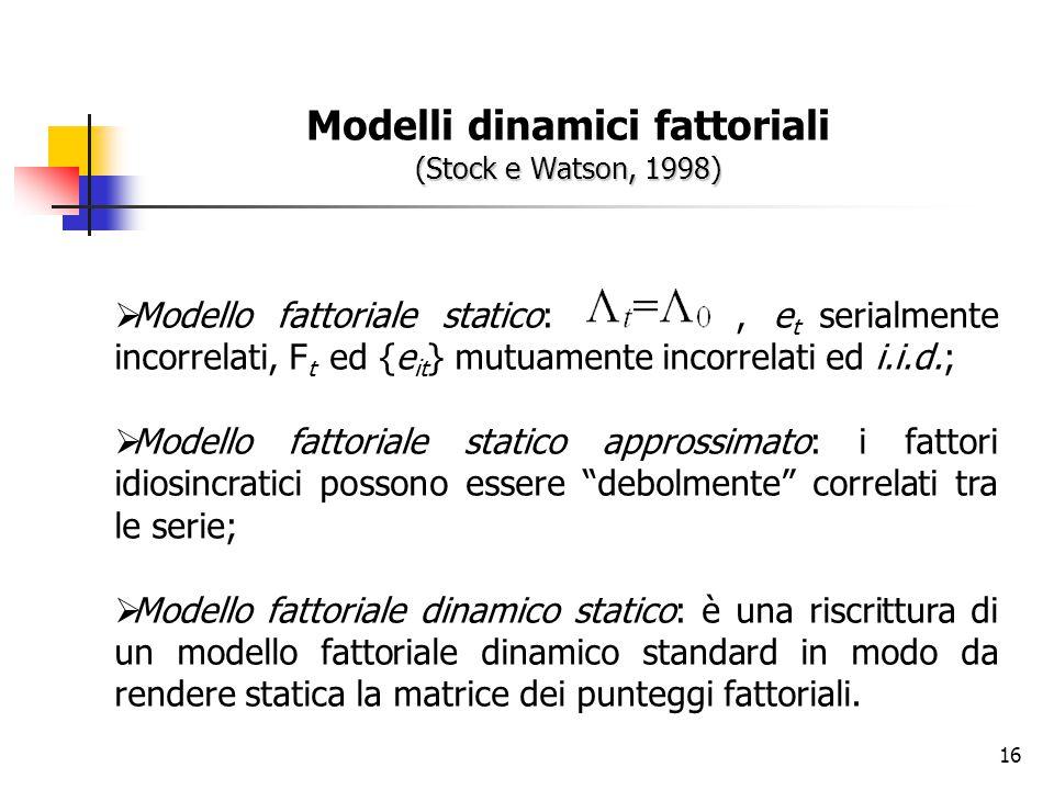 Modelli dinamici fattoriali (Stock e Watson, 1998)