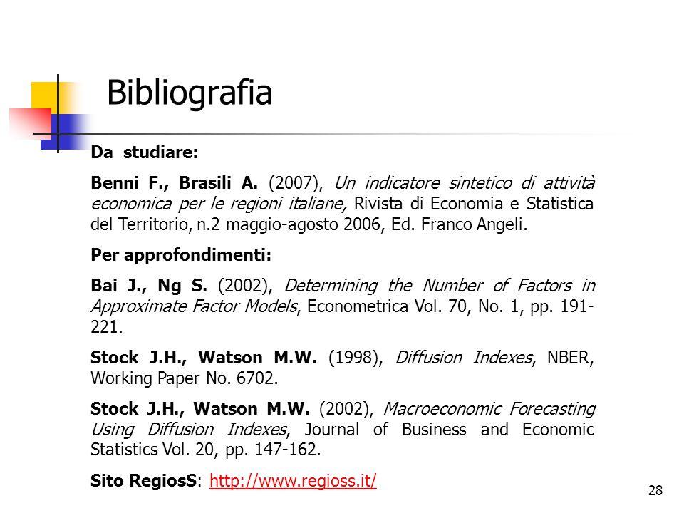 Bibliografia Da studiare: