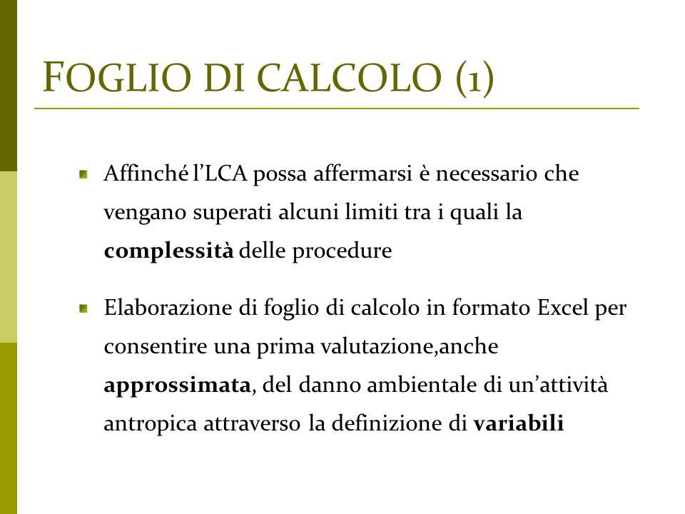 FOGLIO DI CALCOLO (1) Affinché l'LCA possa affermarsi è necessario che vengano superati alcuni limiti tra i quali la complessità delle procedure.