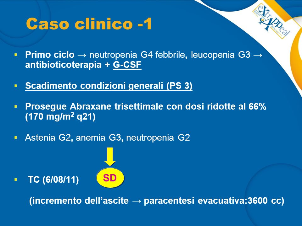 Caso clinico -1 Primo ciclo → neutropenia G4 febbrile, leucopenia G3 → antibioticoterapia + G-CSF.