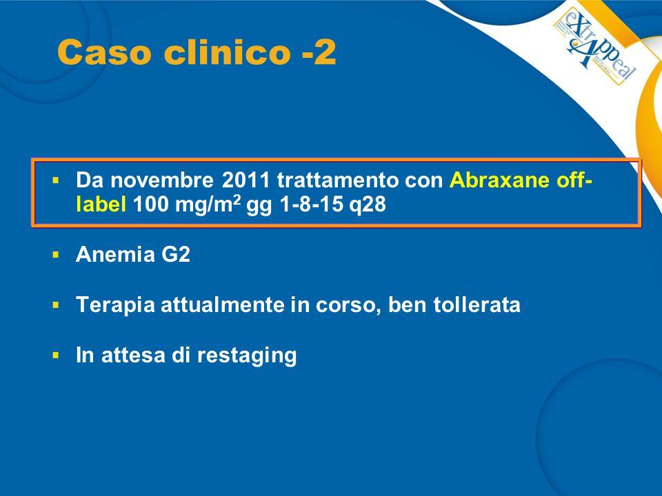 Caso clinico -2 Da novembre 2011 trattamento con Abraxane off- label 100 mg/m2 gg 1-8-15 q28. Anemia G2.