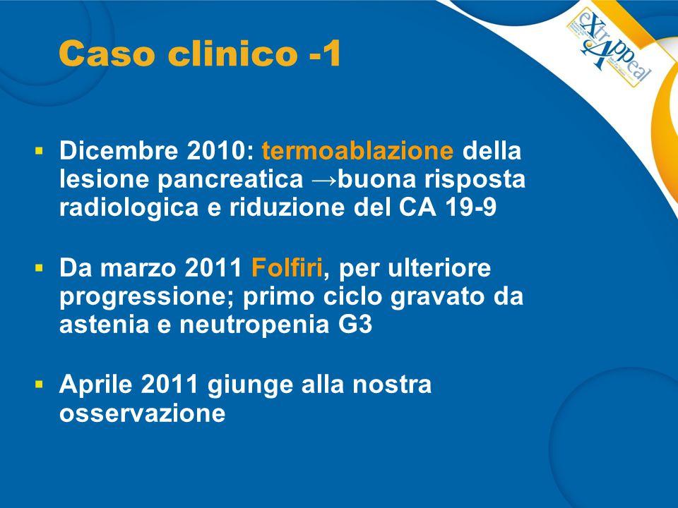Caso clinico -1 Dicembre 2010: termoablazione della lesione pancreatica →buona risposta radiologica e riduzione del CA 19-9.