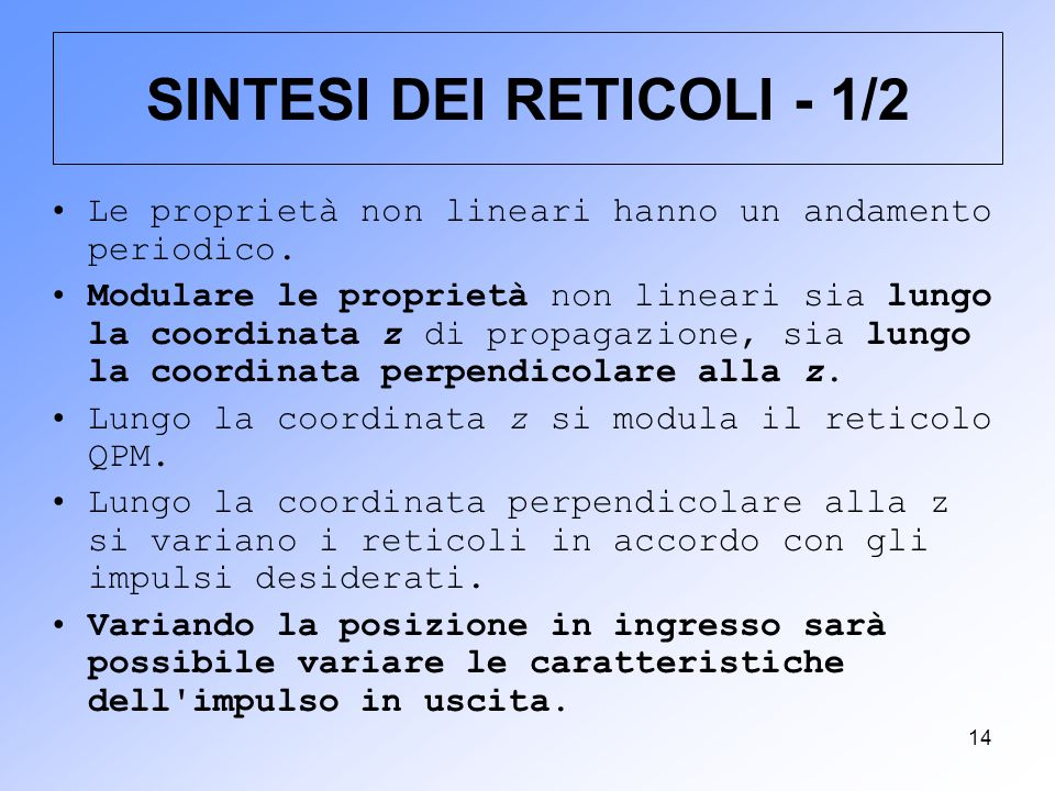 SINTESI DEI RETICOLI - 1/2