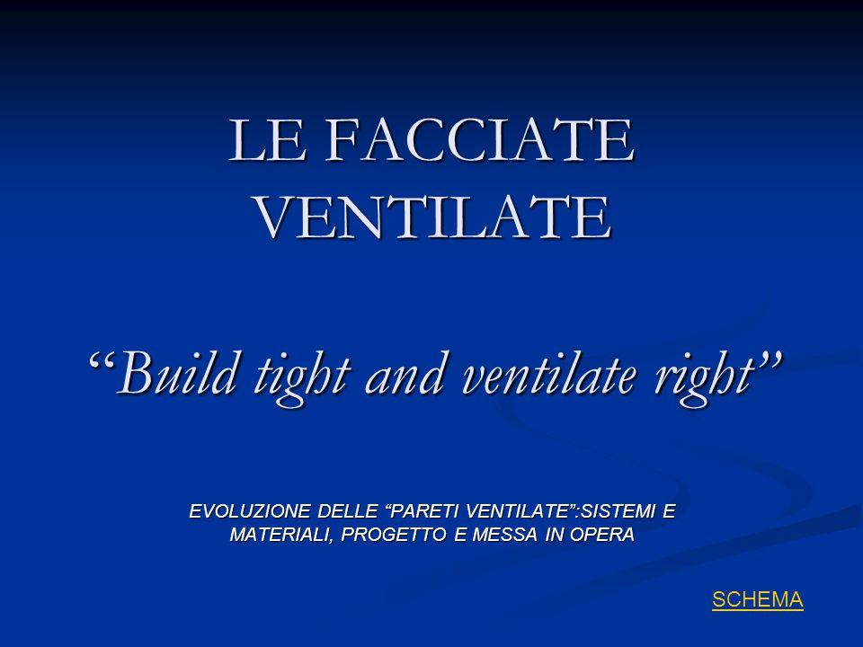 LE FACCIATE VENTILATE Build tight and ventilate right