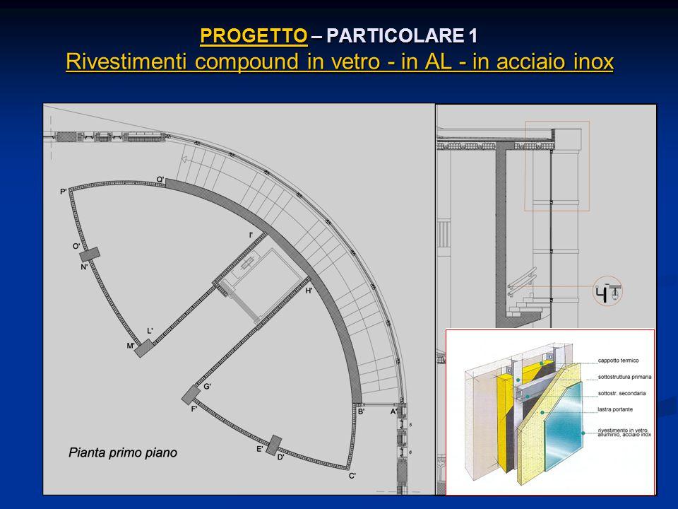 PROGETTO – PARTICOLARE 1 Rivestimenti compound in vetro - in AL - in acciaio inox