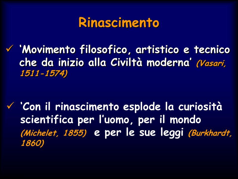 Rinascimento 'Movimento filosofico, artistico e tecnico che da inizio alla Civiltà moderna' (Vasari, 1511-1574)