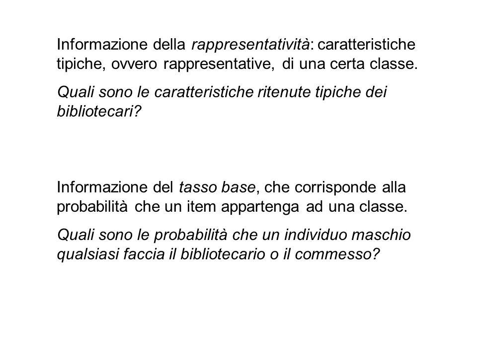 Informazione della rappresentatività: caratteristiche tipiche, ovvero rappresentative, di una certa classe.