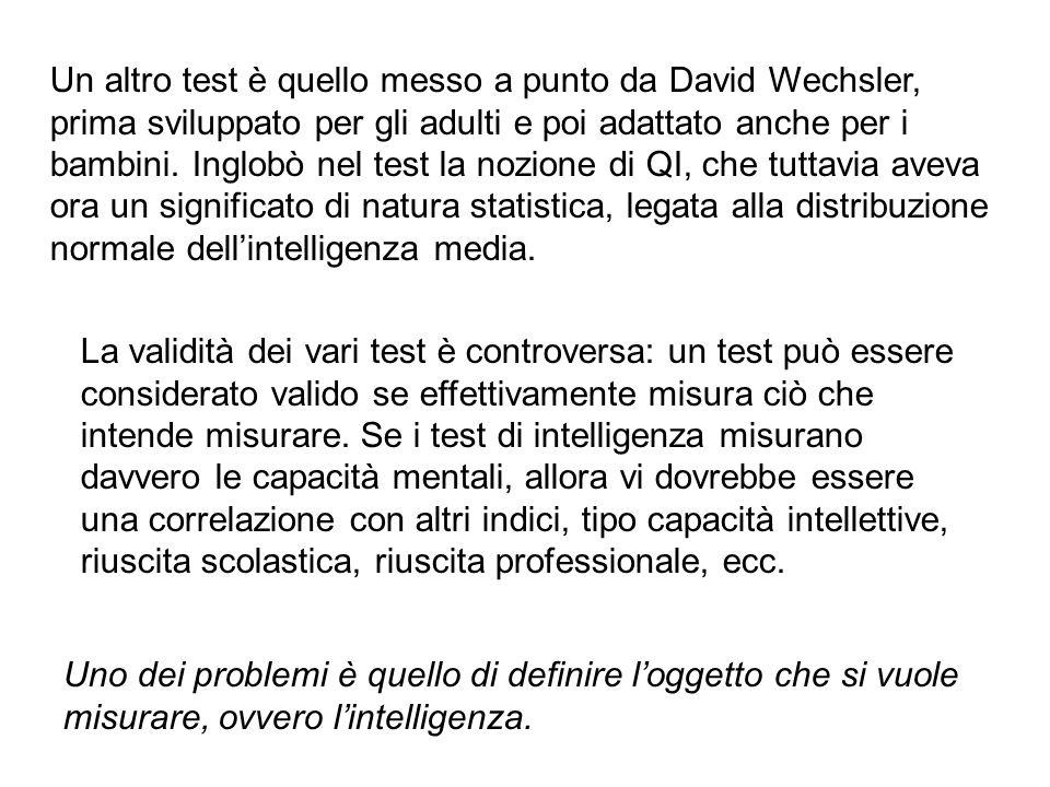 Un altro test è quello messo a punto da David Wechsler, prima sviluppato per gli adulti e poi adattato anche per i bambini. Inglobò nel test la nozione di QI, che tuttavia aveva ora un significato di natura statistica, legata alla distribuzione normale dell'intelligenza media.