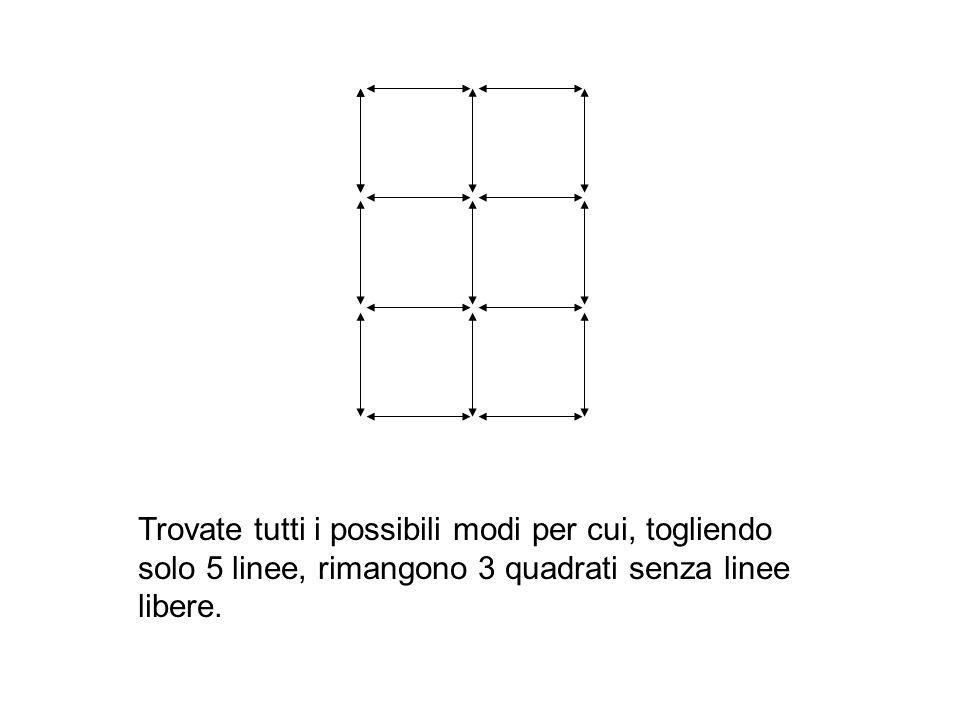 Trovate tutti i possibili modi per cui, togliendo solo 5 linee, rimangono 3 quadrati senza linee libere.
