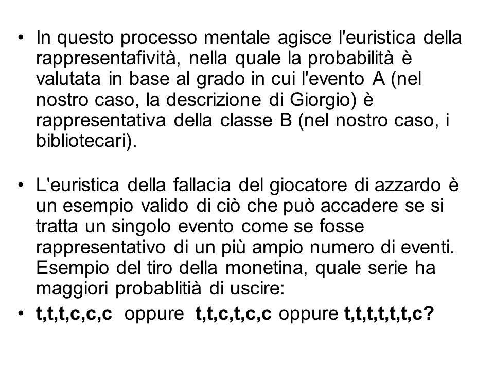 In questo processo mentale agisce l euristica della rappresentafività, nella quale la probabilità è valutata in base al grado in cui l evento A (nel nostro caso, la descrizione di Giorgio) è rappresentativa della classe B (nel nostro caso, i bibliotecari).
