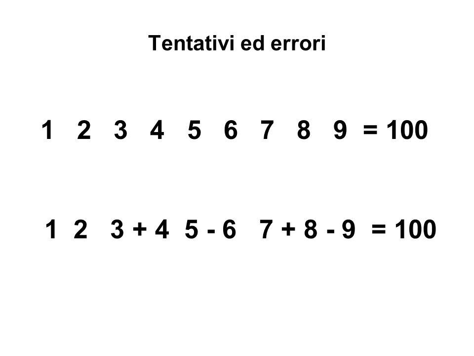 Tentativi ed errori 1 2 3 4 5 6 7 8 9 = 100 1 2 3 + 4 5 - 6 7 + 8 - 9 = 100