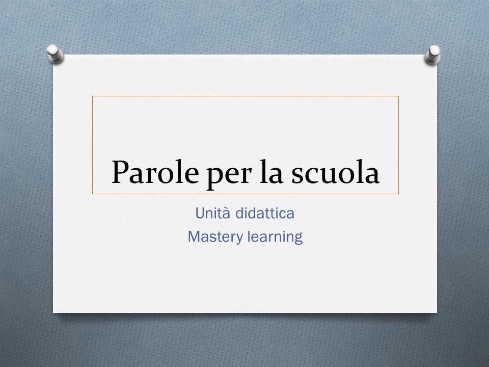 Unità didattica Mastery learning