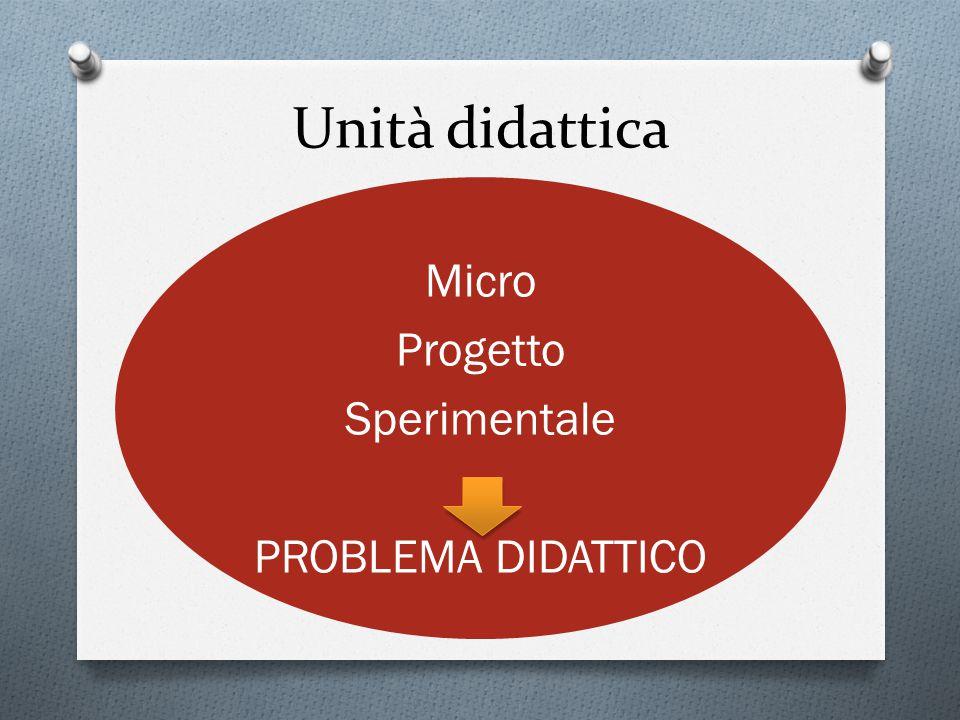 Micro Progetto Sperimentale PROBLEMA DIDATTICO