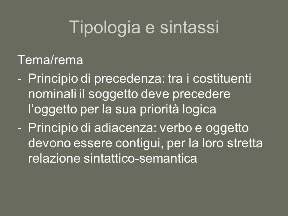 Tipologia e sintassi Tema/rema