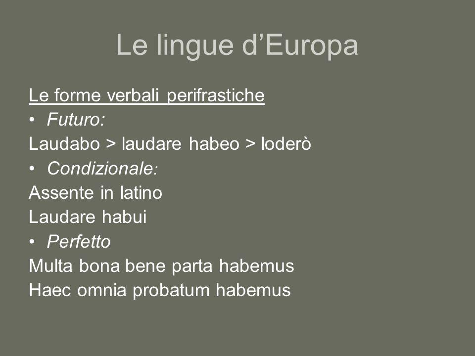 Le lingue d'Europa Le forme verbali perifrastiche Futuro: