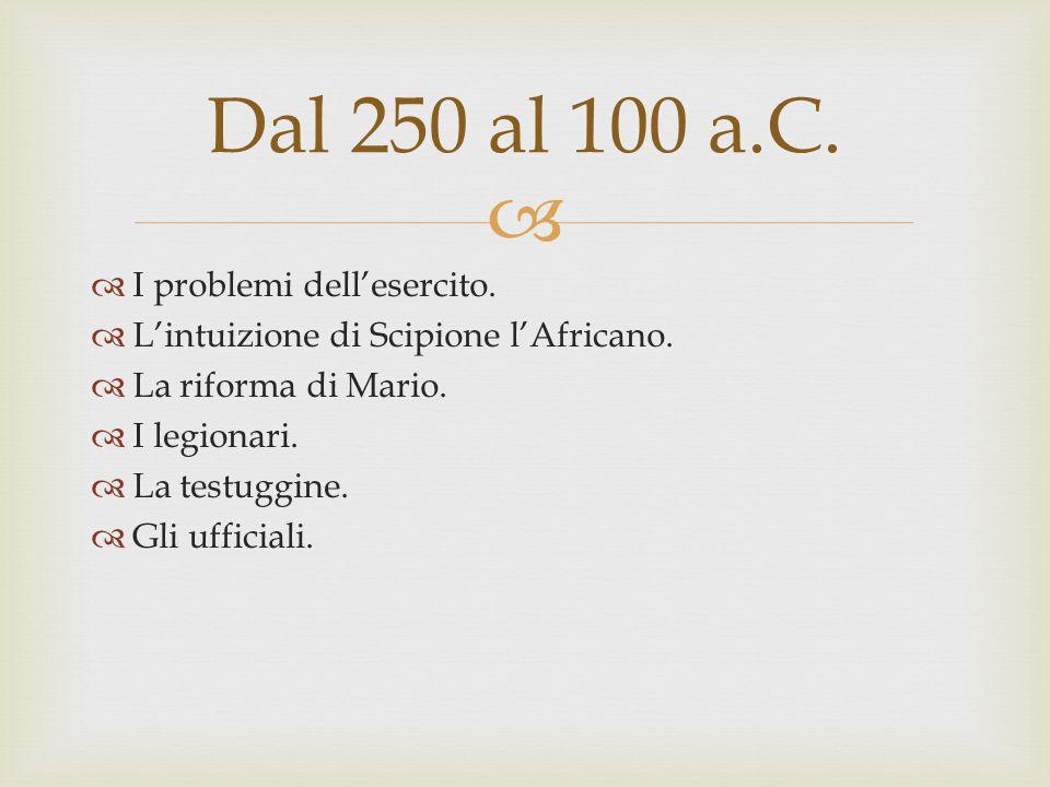 Dal 250 al 100 a.C. I problemi dell'esercito.