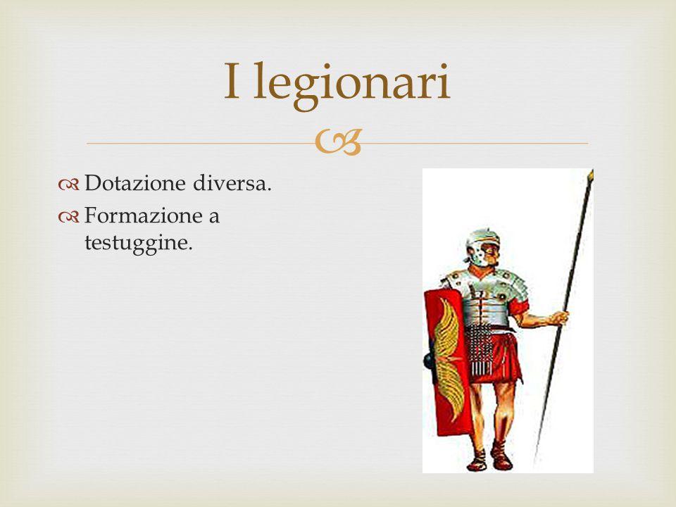 I legionari Dotazione diversa. Formazione a testuggine.